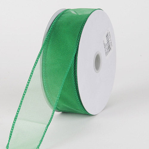 1-1/2 inch Emerald Organza Ribbon Thick Wire Edge 25 Yards