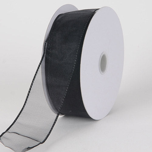 1-1/2 inch Black Organza Ribbon Thick Wire Edge 25 Yards