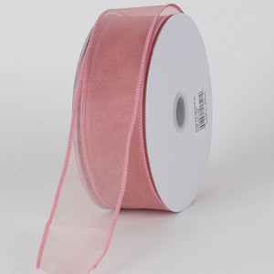 1-1/2 inch Mauve Organza Ribbon Thick Wire Edge 25 Yards