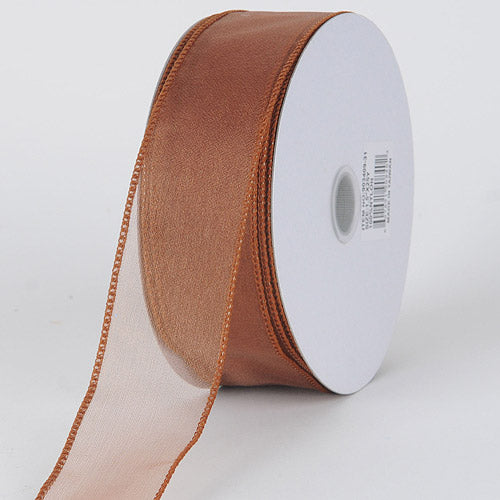 1-1/2 inch Copper Organza Ribbon Thick Wire Edge 25 Yards