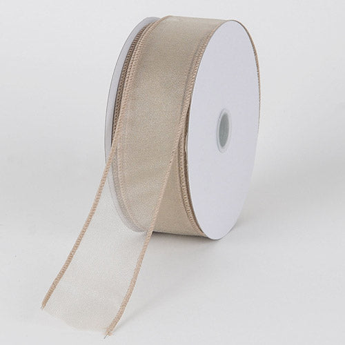 1-1/2 inch Tan Organza Ribbon Thick Wire Edge 25 Yards