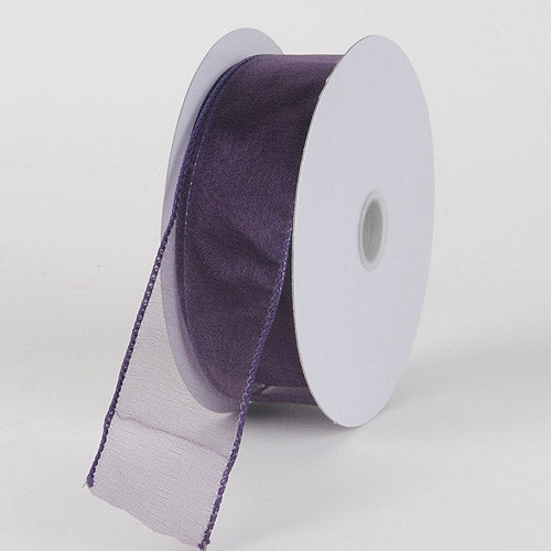 1-1/2 inch Plum Organza Ribbon Thick Wire Edge 25 Yards