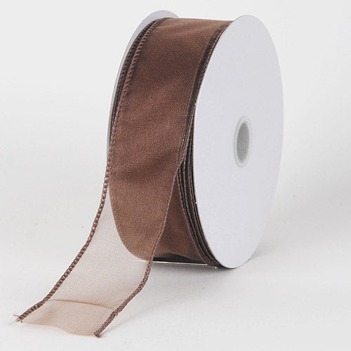 1-1/2 inch Chocolate Brown Organza Ribbon Thick Wire Edge 25 Yards
