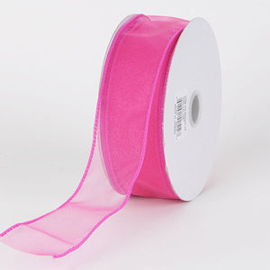 2-1/2 inch Hot Pink Organza Ribbon Thick Wire Edge 25 Yards