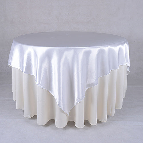 90 Inch x 90 Inch White 90 x 90 Satin Table Overlays