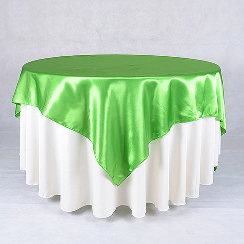 90 Inch x 90 Inch Apple Green 90 x 90 Satin Table Overlays