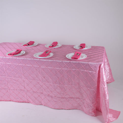 90 inch Pink 90 inch x 132 inch Pintuck Satin Tablecloth