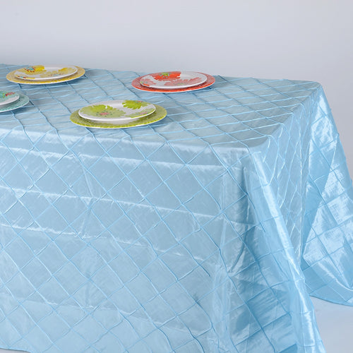 90 inch Light Blue 90 inch x 132 inch Pintuck Satin Tablecloth