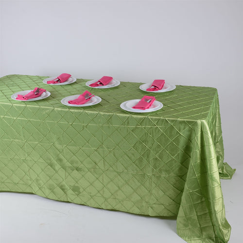 90 inch Apple Green 90 inch x 132 inch Pintuck Satin Tablecloth