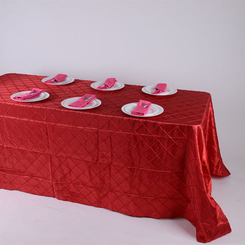 90 inch Red 90 inch x 132 inch Pintuck Satin Tablecloth
