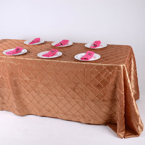 90 inch Gold 90 inch x 132 inch Pintuck Satin Tablecloth