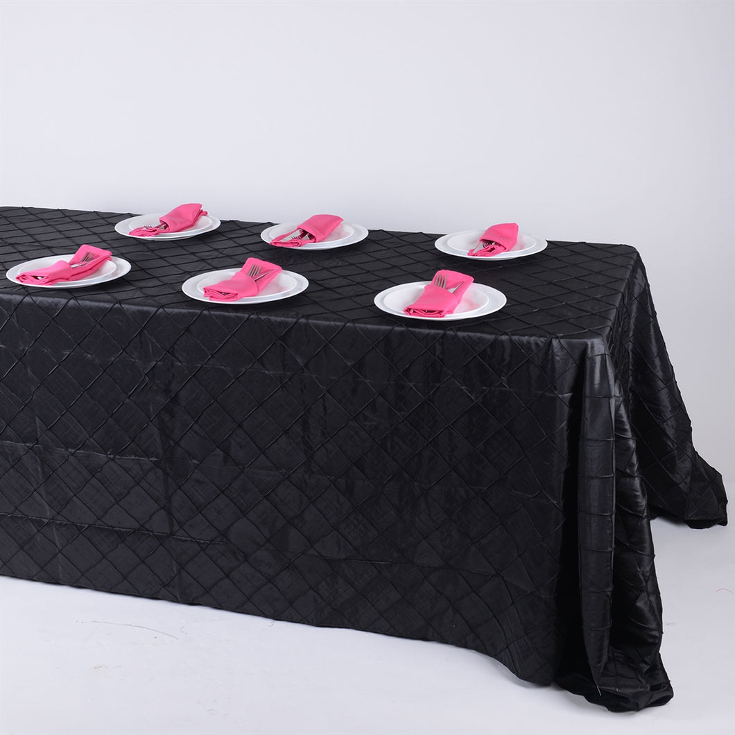 90 inch Black 90 inch x 132 inch Pintuck Satin Tablecloth