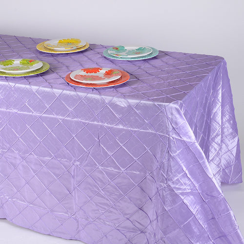 90 inch Lavender 90 inch x 132 inch Pintuck Satin Tablecloth