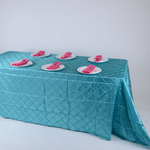 90 inch Turquoise 90 inch x 132 inch Pintuck Satin Tablecloth