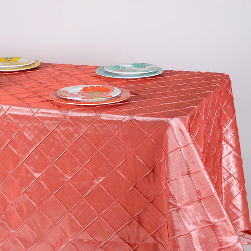 90 inch Coral 90 inch x 132 inch Pintuck Satin Tablecloth