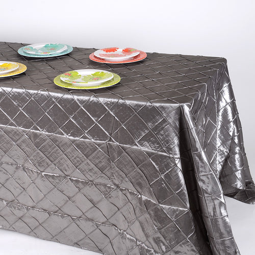 Silver 90 x 156 inch Pintuck Satin Tablecloths