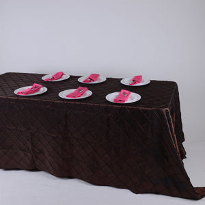 Chocolate Brown 90 x 156 inch Pintuck Satin Tablecloths