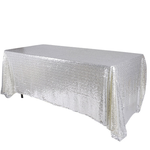 Silver 90 x 156 inch Rectangular Duchess Sequin Tablecloths