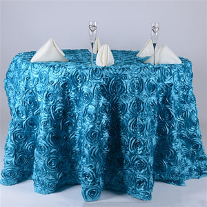 "132 Inch Turquoise 132"" Round Rosette Satin Tablecloths"