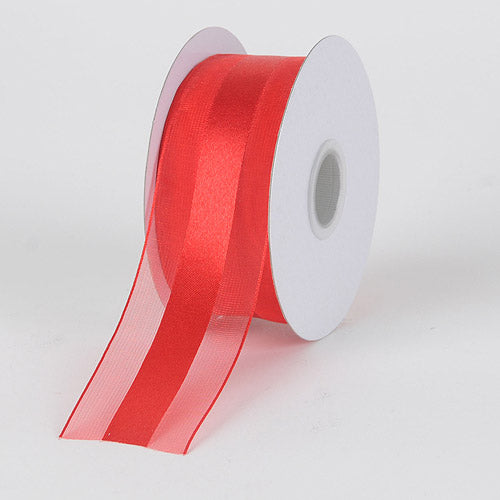Red - Organza Ribbon Satin Center - ( W: 1-1/2 Inch | L: 25 Yards )