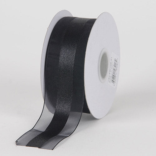 5/8 inch Black Organza Ribbon Satin Center