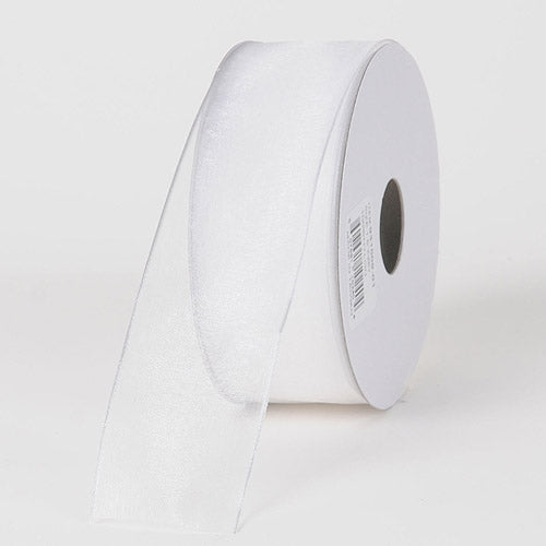 1-1/2 inch White Organza Ribbon Thin Wire Edge 25 Yards