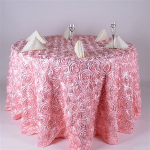 "132 Inch Pink 132"" Round Rosette Satin Tablecloths"