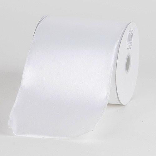 White - Satin Ribbon 4 Inch Double Faced Wired - ( W: 4 inch | L: 10 Yards )
