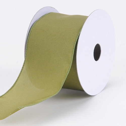 2-1/2 inch Spring Moss Satin Ribbon Thick Wired Edge
