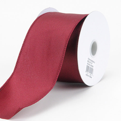 2-1/2 inch Burgundy Satin Ribbon Thick Wired Edge