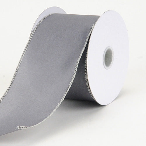 2-1/2 inch Silver Satin Ribbon Thick Wired Edge