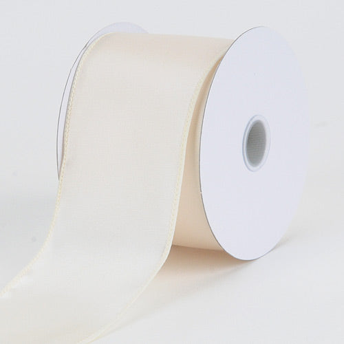 2-1/2 inch Ivory Satin Ribbon Thick Wired Edge