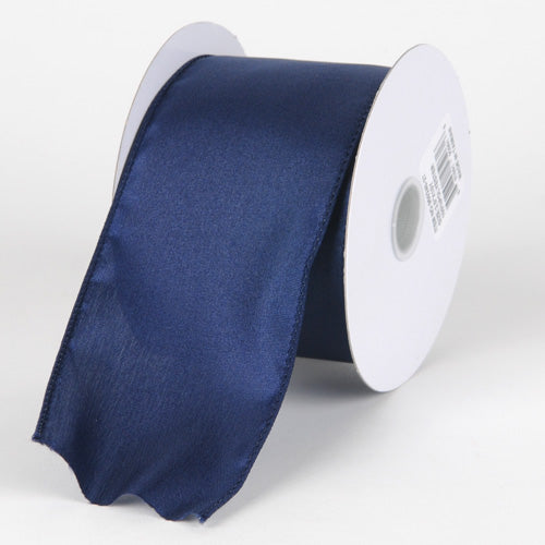 2-1/2 inch Navy Blue Satin Ribbon Thick Wired Edge