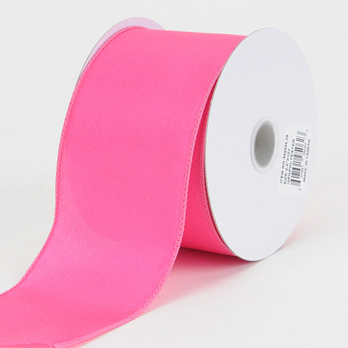 2-1/2 inch Fuchsia Satin Ribbon Thick Wired Edge