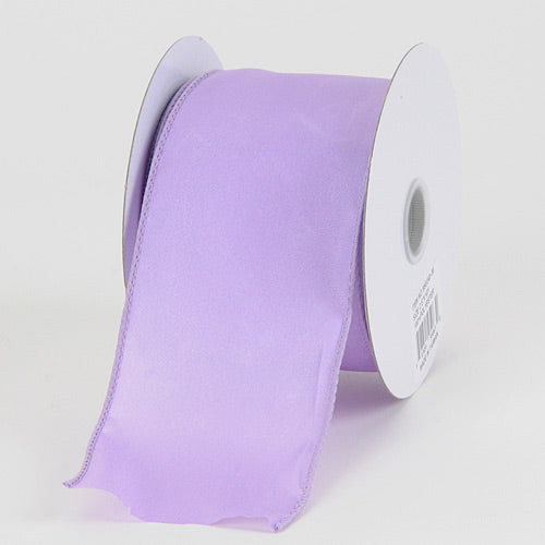 2-1/2 inch Lavender Satin Ribbon Thick Wired Edge