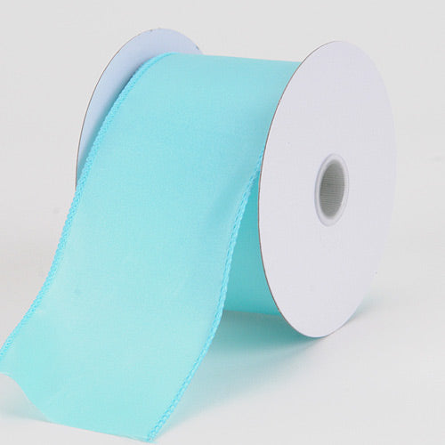 2-1/2 inch Aqua Blue Satin Ribbon Thick Wired Edge