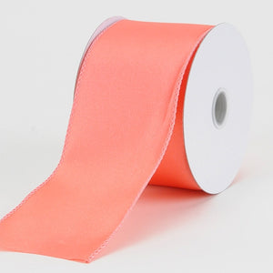 2-1/2 Inch x 10 Yards Coral Satin Ribbon Thick Wired Edge