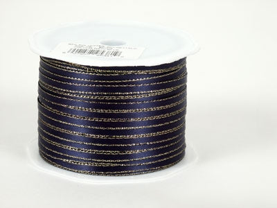 1/8 inch Navy Blue with Gold Edge Satin Ribbon with Gold Edge 1|8 Inch