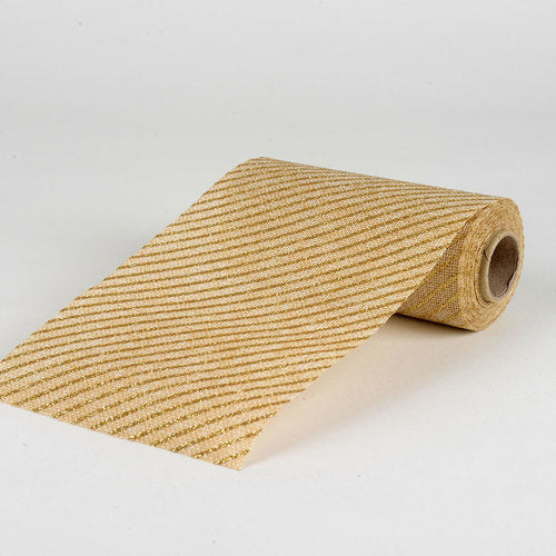 Natural -  Faux Burlap Roll ( W: 6 inch | L: 5 Yards ) - 960115GO