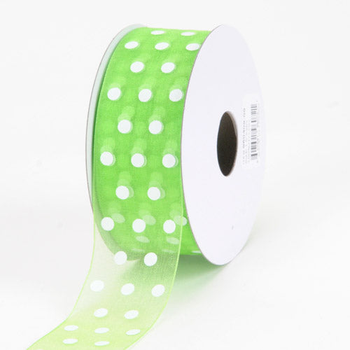 1-1/2 inch Apple Green Organza Ribbon Polka Dot