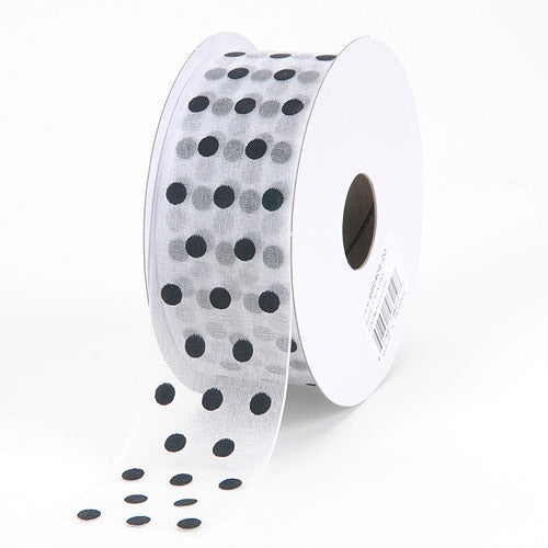 1-1/2 inch White with Black Dot Organza Ribbon Polka Dot