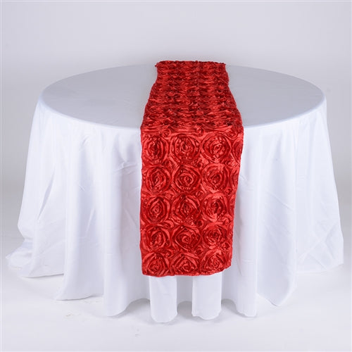 Red - 14 x 108 Inch Rosette Satin Table Runners - FuzzyFabric