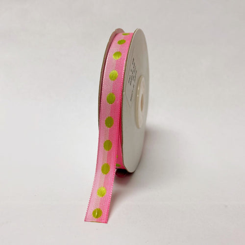 Pink Polka Dot Ribbon - ( W: 3/8 Inch | L: 25 Yards )