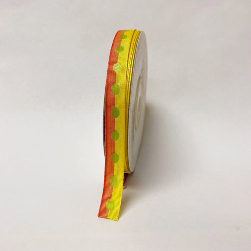 Orange Yellow Polka Dot Ribbon - ( W: 3/8 Inch | L: 25 Yards )