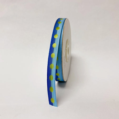 Royal Light Blue Polka Dot Ribbon - ( W: 3/8 Inch | L: 25 Yards )
