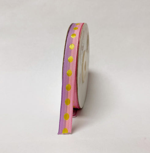 Lavender Pink Polka Dot Ribbon - ( W: 3/8 Inch | L: 25 Yards )