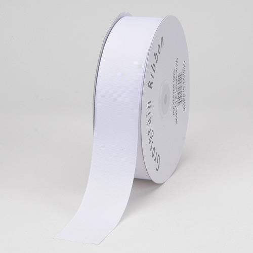 White - Grosgrain Ribbon Solid Color - ( W: 3/8 Inch | L: 50 Yards )