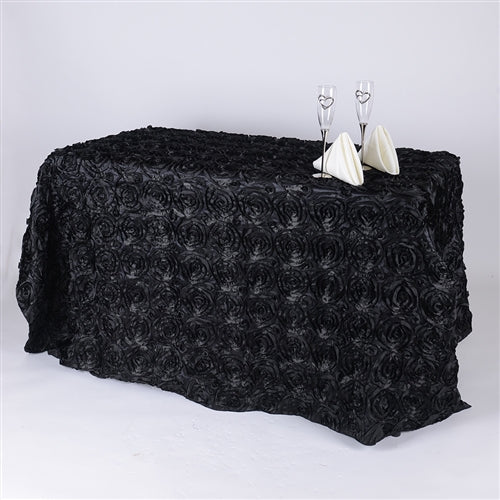 Black - 90 x 132 Inch Rosette Rectangle Tablecloths