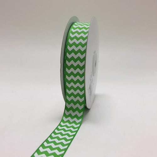 Apple Green - Chevron Design Grosgrain Ribbon ( 7/8 inch | 25 Yards )