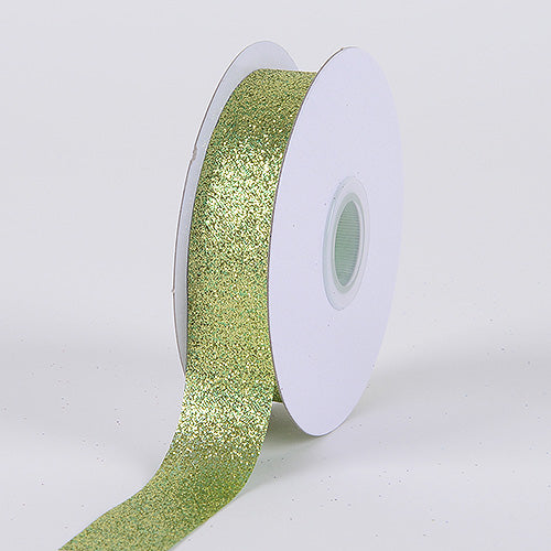 Apple Green - Metallic Glitter Ribbon - ( 5/8 Inch 25 Yards )